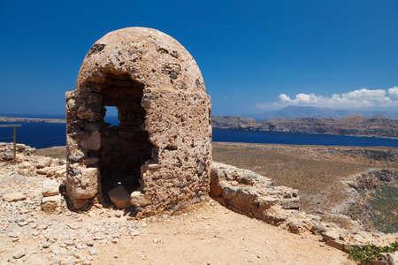 loophole: Stone Loophole Fortification Gramvousa above Sea. Crete. Greece.