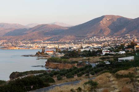 kreta: Panorama of Hersonissos town, resort in Crete, Greece