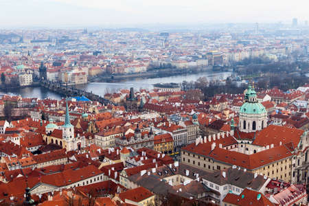 Panoramic view of Prague from the Prague Castle on a cloudy winter day, Prague, Czech Republic photo