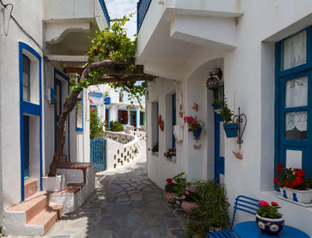Narrow street in the village, Nisiros island, Greece