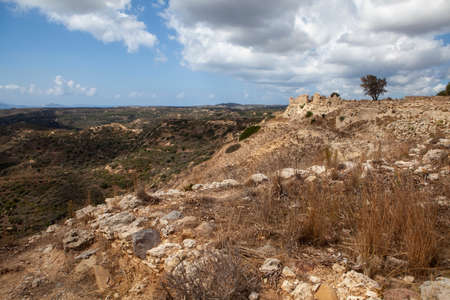 Panoramic view to the castle of Antimachias village in Kos island Greece