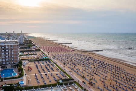 Aerial view of Lido di Jesolo with its wide sandy beaches located between Venice and the mouth of the Piave river.