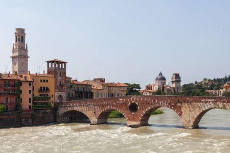 Verona city landscape. Beautiful Verona view with Pietra Bridge and Adige River. VERONA, ITALY. Reklamní fotografie