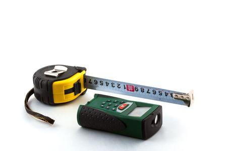finder: Roulette and laser range finder on a white background