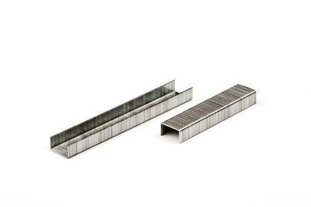 staples: metal staples on a white background Stock Photo