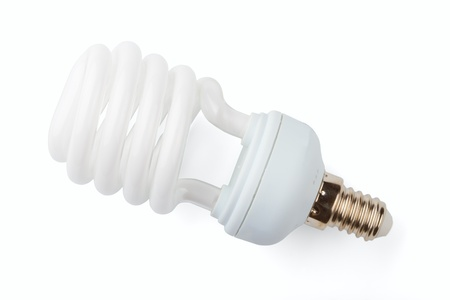 Power saving up lamp isolated on a white background Stock Photo