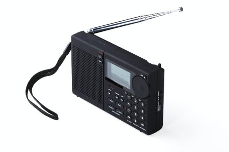 Portable radio receiver with alarm, amplifier,  isolated on a white background Stock Photo - 12008364