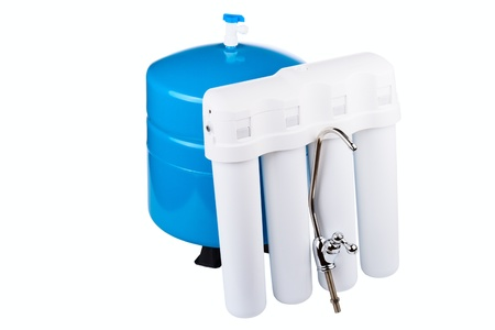 System of a filtration of potable water isolated on a white background