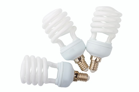 Power saving up lamps isolated on a white background photo
