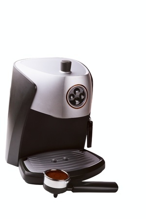 with coffee maker: coffee maker and ground coffee isolated on white background Stock Photo