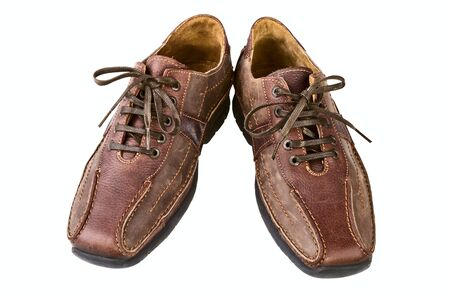 Brown leather man's shoes on a white background Stock Photo - 13109037