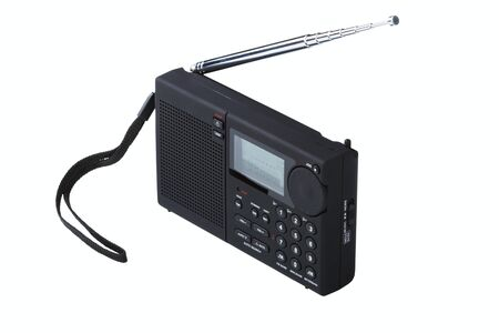 Portable radio receiver with alarm, amplifier,  isolated on a white background Stock Photo - 14025084