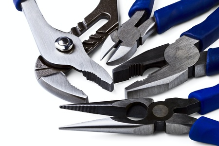 wirecutters: Wire cutting and flat-nose pliers isolated on a white background