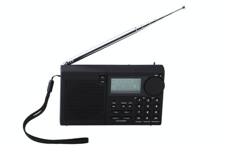Portable radio receiver with alarm, amplifier,  isolated on a white background Stock Photo - 14237699