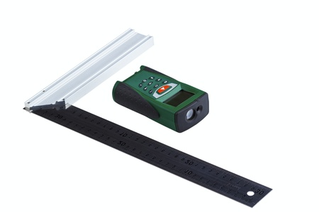 finder: Ruler square and laser range finder isolated on a white background