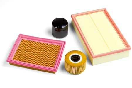 rubber sealant: Automobile oil and air filters isolated on a white background