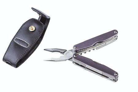 rustproof: steel folding multitool isolated on a white background Stock Photo