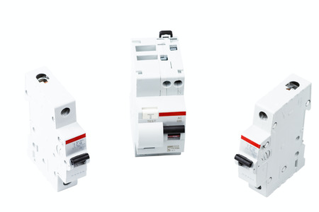 miniature circuit breakers isolated on white background Фото со стока