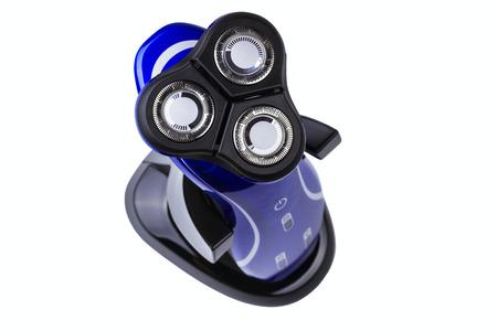 electric razor: blue electric razor isolated on white background Stock Photo