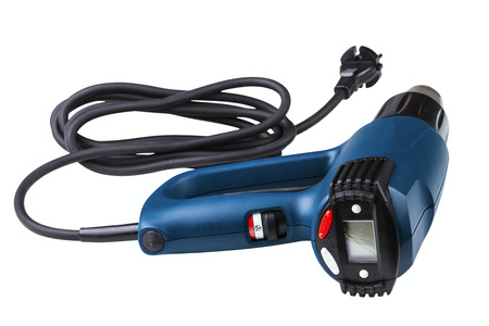 industrial programmable heat gun with LCD display isolated on white background photo
