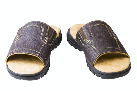 outsole: brown slides isolated on white background Stock Photo