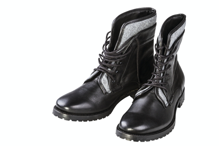 rubber lining: black mans boot isolated on white background