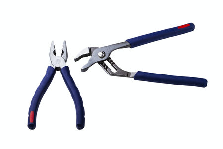flatnose: Wire cutting and flat-nose pliers isolated on a white background