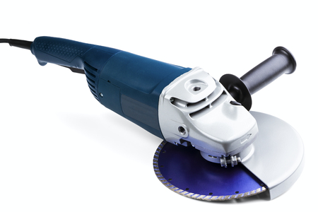 grinding car with abrasive disk isolated on a white background