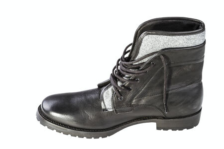 outsole: black mans boot isolated on white background