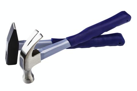 fiberglass: fibra de vidrio martillos aislados sobre fondo blanco