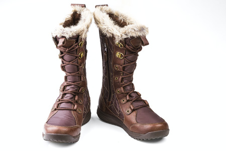 outsole: brown womens boots isolated on white