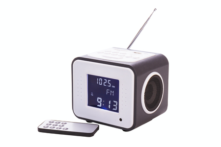 cardreader: Portable radio receiver with alarm, card-reader, amplifier,  remote control and MP3 player isolated on a white background