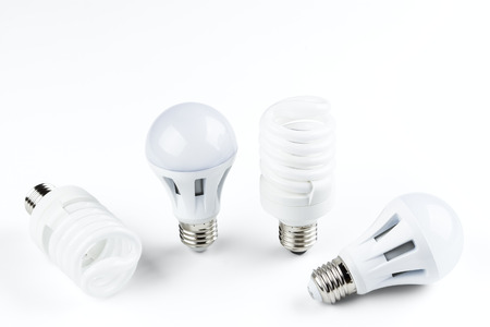 energy smart spiral light bulb isolated on white background photo