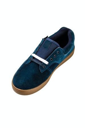 rubber lining: dark blue velvet mans shoe on white background Stock Photo