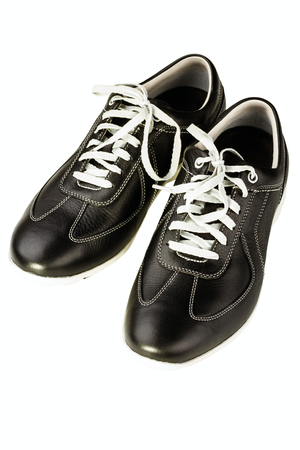 black leather mans shoe on white background