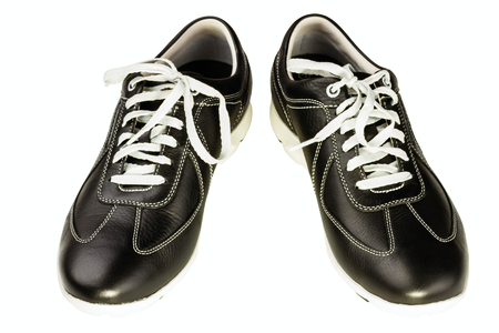 rubber lining: black leather mans shoe on white background