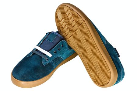 dark blue velvet mans shoe on white background Stock Photo