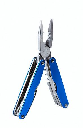 steel folding multitool isolated on white background photo