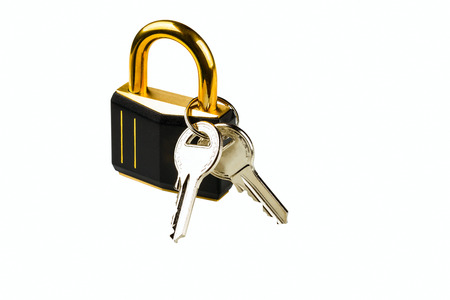 hinged: hinged lock with keys on white background Stock Photo