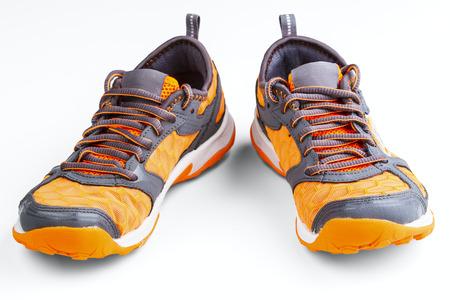 rubber lining: athletic unisex shoes isolated on white background