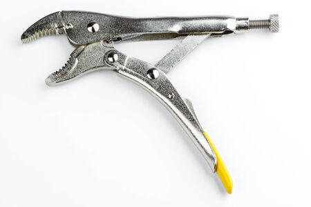 locking: curved jaw locking pliers isolated on white background