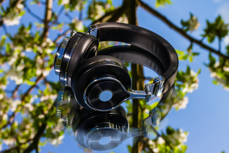 collapsible: wireless bluetooth travel headphones Stock Photo