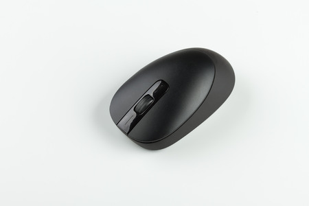 black wireless computer mouse on white background
