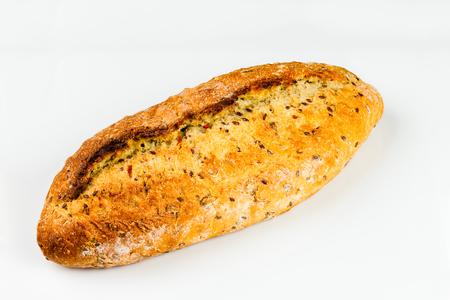 fresh white bread on white background