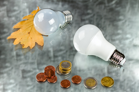 white innovation energy-saving LED bulb, glow-lamp and coins on silvery background Stock Photo