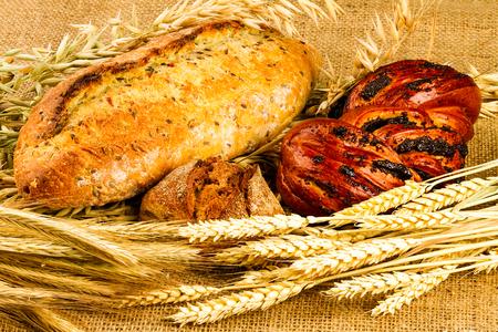 fresh white bread on sackcloth background