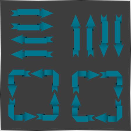 cool down: Conjunto de diferentes flechas azules Vectores