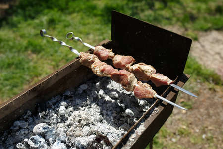meat is fried on coals, Asian cuisine, shish kebab with smoke on a sunny day