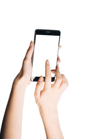 woman hand touching smartphone screen isolated on white background, with a clean screen