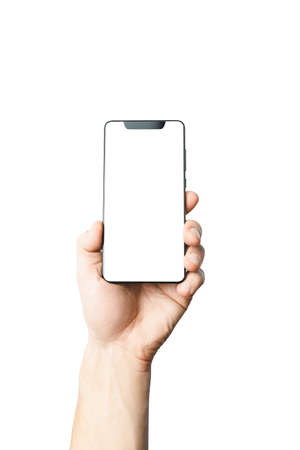 phone in hands on isolated white background, frameless phone, modern smartphone with thin frames